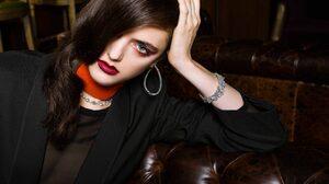 Jewelry Model Brunette Blue Eyes Lipstick Earrings Face 1673x1067 Wallpaper