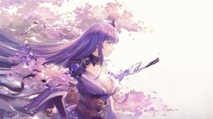 Anime Anime Girls Digital Art Artwork 2D Portrait Genshin Impact Raiden Shogun Genshin Impact Purple 4032x2366 Wallpaper