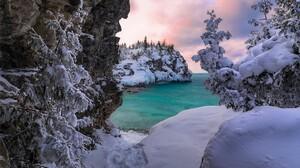 Canada Lake Lake Huron Mountain Ontario Rock Snow Winter 2048x1365 Wallpaper