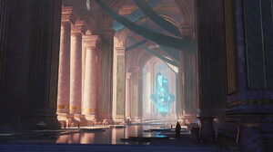 Artwork Digital Art Pillar Temple Crystal 1920x1037 Wallpaper