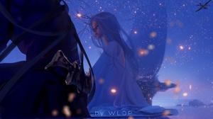 Artwork Fantasy Art Women Fantasy Girl WLOP Blue Hair Sitting Sky Night Long Hair Comics Ghostblade 1920x1120 Wallpaper
