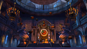 Holiday Halloween Altar Jack O Lantern Witch Chandelier 1920x1080 Wallpaper