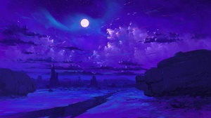 BisBiswas Digital Art Canyon Gorge Moon Stars Night Clouds Desert Mountains 1920x1080 Wallpaper