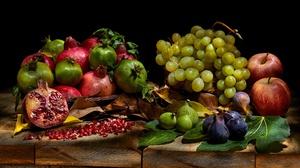 Apple Fig Fruit Grapes Pomegranate Still Life 5000x3334 Wallpaper