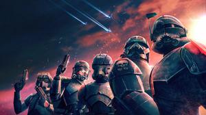 Star Wars Bad Batch Star Wars Spaceship Blaster Purple Sky Stormtrooper Storm Clone Trooper 5120x2880 wallpaper