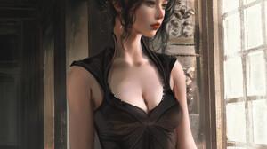 Asian Women Looking Out Window Dress CGi Render Digital Art ArtStation Dark Hair Black Dress Standin 1000x1473 Wallpaper