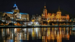 Szczecin City Poland Polish Night River 1280x816 Wallpaper