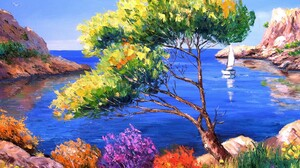 Artistic Calanque Flower France Painting 1600x1200 Wallpaper