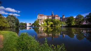 Germany Baden Wurttemberg Donau River Water Reflection Castle Castle Sigmaringen 4031x2691 Wallpaper