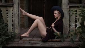 Andrey Frolov Model Women Blonde Braids Legs Feet Barefoot Dress Black Dress Hat Sitting On The Floo 2500x1502 wallpaper