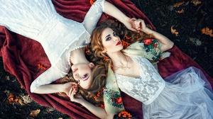 Blue Eyes Girl Lipstick Lying Down Redhead White Hair Woman 1920x1279 Wallpaper