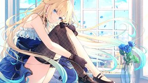 Anime Anime Girls Blonde Blue Eyes Long Hair Black Boots Boots Blue Dress Dress Window Rose Blue Ros 2048x1410 Wallpaper