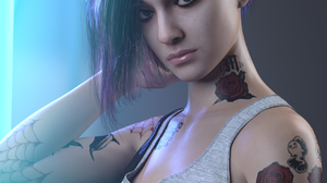 Cyberpunk 2077 Women Undercut Hairstyle Tattoo Video Game Characters Side Shave Video Game Girls Sho 1691x2160 Wallpaper