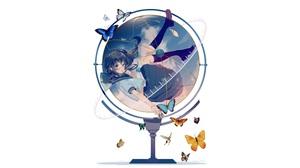 Long Hair Black Hair Butterfly Globe School Uniform Girl 6480x4400 Wallpaper