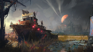 City Post Apocalyptic Warrior Wreck 2000x1064 Wallpaper
