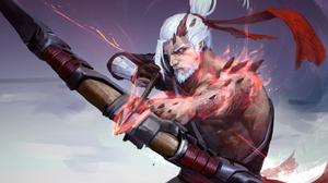 Archer Arrow Beard Bow Hanzo Overwatch Overwatch Warrior White Hair 4961x3508 Wallpaper