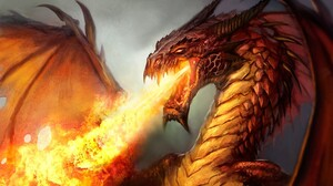 Dragon Fantasy Fire Wings Orange Color 1920x1203 Wallpaper