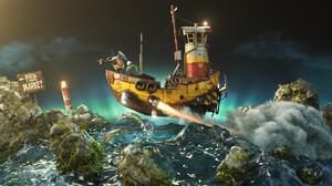Marcelo Vaz Digital Art ArtStation Artwork Boat Vehicle Sea 2560x1440 wallpaper