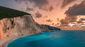 Beach Cliff Cloud Coastline Greece Horizon Ocean 2048x1152 Wallpaper