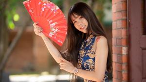 Asian Brunette Depth Of Field Fan Girl Long Hair Model Smile Tattoo Woman 3840x2560 Wallpaper