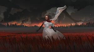 Olga Orlova Digital Art Fantasy Art Forest White Dress Red Scarfs Wheat Landscape 2400x1219 Wallpaper