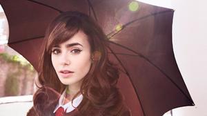 Women Brunette Actress Celebrity Umbrella Long Eyelashes Women Outdoors Looking At Viewer Lens Flare 1920x1080 Wallpaper