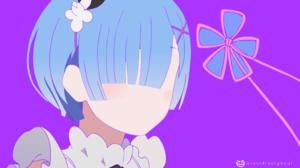 Blue Hair Cute Girl Minimalist Re Zero Starting Life In Another World Rem Re Zero 3840x2160 Wallpaper