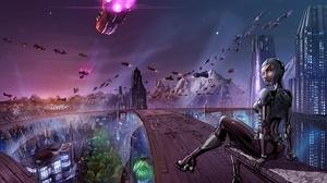 City Cyberpunk Futuristic Girl Skyscraper 2477x1920 Wallpaper