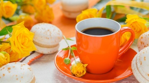 Coffee Cup Macaron Rose Still Life Yellow Flower 5760x3840 wallpaper