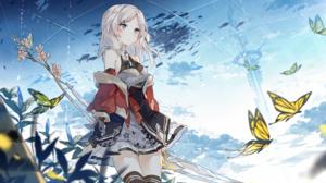 Anime Anime Girls White Hair Standing Butterfly Thigh Highs Asuka Artist 3000x1854 Wallpaper