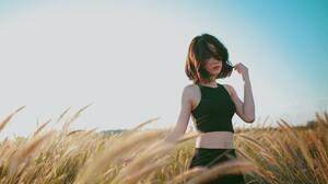 Women Brunette Sky Field Black Clothes Closed Eyes Hair Asian 5760x3840 wallpaper