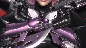 Alita Science Fiction CGi Render ArtStation Digital Art Girl With Weapon Looking At Viewer Dark Hair 1765x2350 Wallpaper
