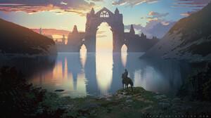 Artwork Digital Art Nature Building Lake Horse 1536x864 wallpaper