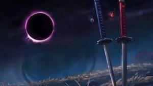 CLA RiTY Eclipse Katana Sword Moon Dark Fantasy Art Artwork Digital Art 1920x1143 Wallpaper