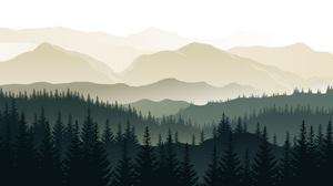 Forest Mountains Landscape Artwork Digital Art Hills Silhouette Mist Green Vector 5000x3450 Wallpaper