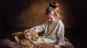 Baby Animal Child Cub Cute Girl Lion Little Girl 3600x2400 Wallpaper