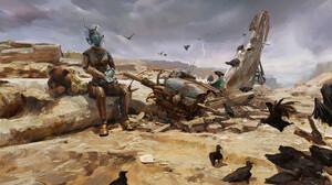 Liang Mark Digital Art Fantasy Art Ancient Robot Crow Lightning Space 1920x864 Wallpaper