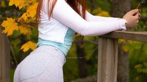 Women Model Redhead Cat Ears Sweater Blue Tops Looking At Viewer Smiling Fall Outdoors Women Outdoor 1736x2237 Wallpaper