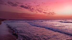Beach Evening Purple Background Magenta Algeria 4000x3000 Wallpaper