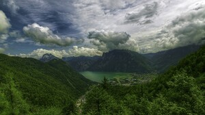 Alps Austria Cloud Earth Forest Greenery Lake Landscape Mountain 1920x1080 Wallpaper