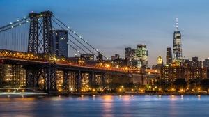 Bridge Building City New York Night Skyscraper Williamsburg Bridge 2047x1129 Wallpaper