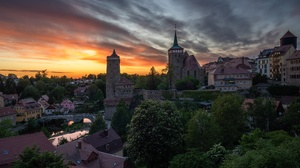 City Evening Fortress Germany House River Tower 6000x3375 Wallpaper