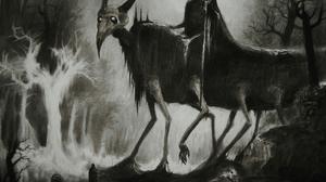 Vergvoktre Drawing Painting Creepy Horror Creature Hell Dark Monochrome 1500x1335 Wallpaper