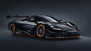 McLaren 720S McLaren Supercars Car Vehicle Black Cars Race Cars Gray Background 5120x2880 wallpaper