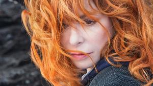 Mylene Farmer French Singer Redhead Hair In Face Looking Away 1644x1080 wallpaper