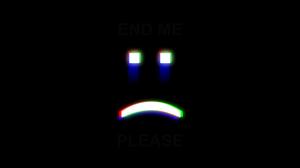 Minimalism Dark Background Dark Emoji Depressing Glitch Art Dark Humor Simple 2500x1406 Wallpaper