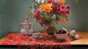 Candy Chocolate Cup Flower Pink Flower Pitcher Saucer Still Life Teapot Vase White Flower Yellow Flo 2288x2010 Wallpaper