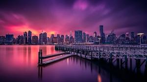 Building City New York Night Pier Usa 2500x1675 Wallpaper