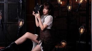 Serene Liu Women Model Asian Brunette Bangs Ponytail Dress Portrait Boots Looking At Viewer Parted L 2048x1365 Wallpaper