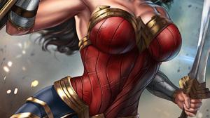 Wonder Woman DC Comics Superheroines Fictional Character Brunette Tiaras Blue Eyes Warrior Girls Bar 3508x4961 Wallpaper